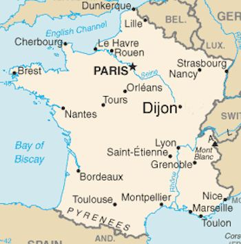 Map from Paris to Dijon