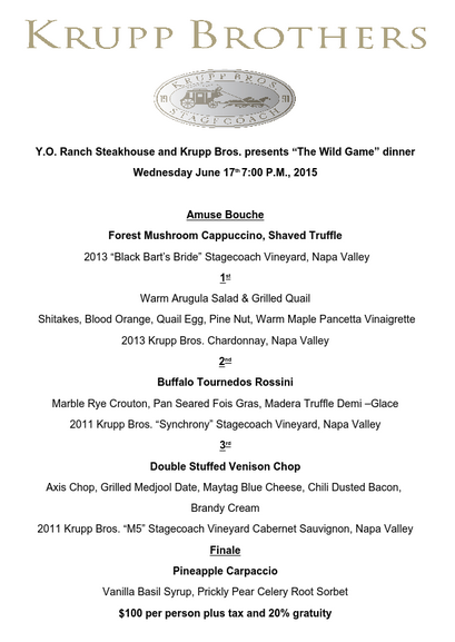 Dallas Steakhouse Wine Dinner
