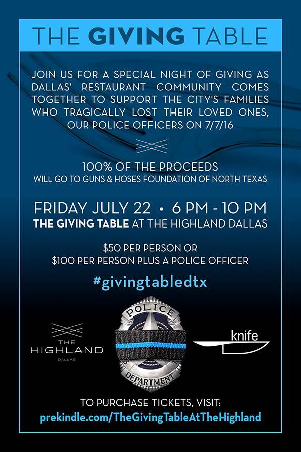 TONIGHT: Dallas Restaurants Host The Giving Table for Dallas Police Officers