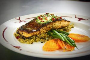 Try the salmon at the best steakhous in Dallas, Y.O. Steakhouse.