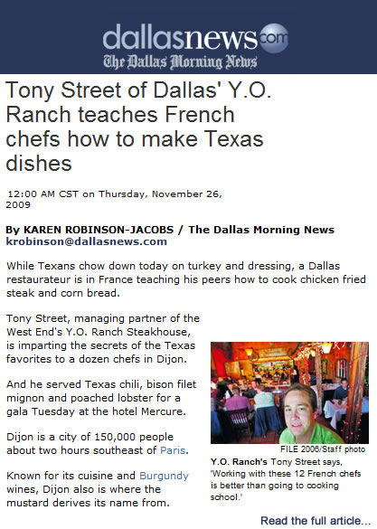 Private Dining Dallas | Dallas Chef, Tony Street, Featured in Dallas Morning News