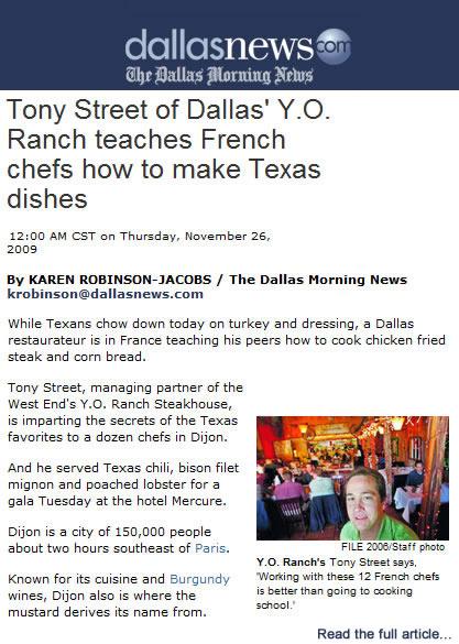 Private Dining Dallas | Dallas Chef, Tony Street, Featured in Dallas Morning News